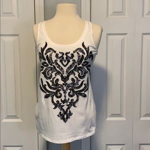 NWT Express white tank top with sequins design